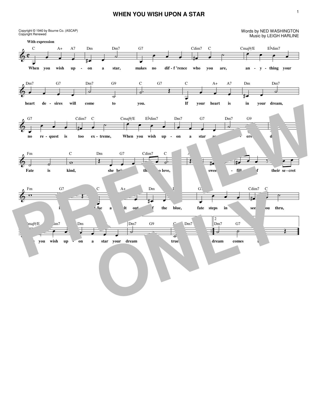 When You Wish Upon A Star Sheet Music