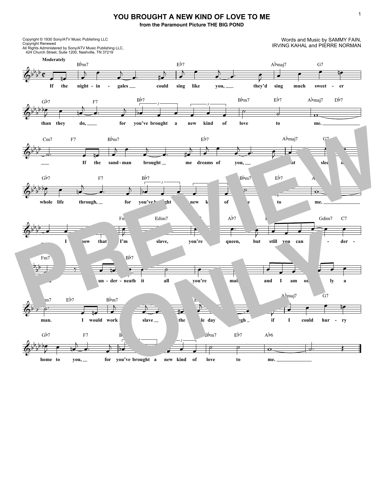 You Brought A New Kind Of Love To Me (Lead Sheet / Fake Book)