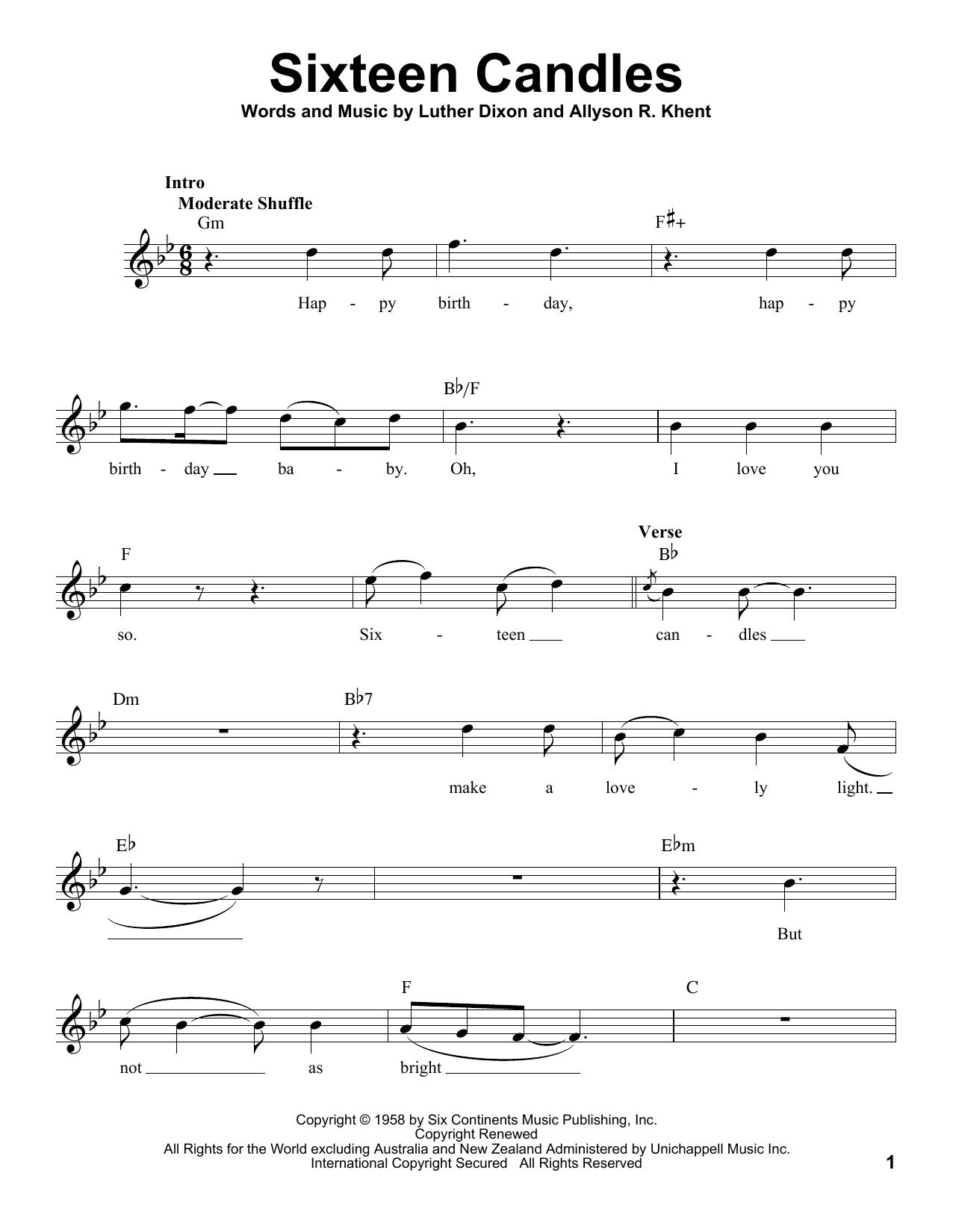 Sixteen Candles Sheet Music