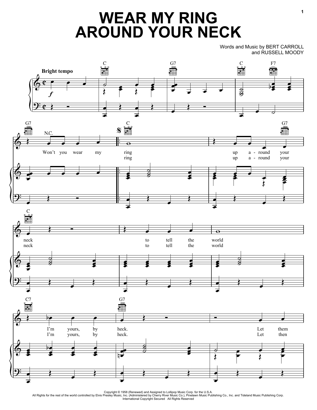 Wear My Ring Around Your Neck (Piano, Vocal & Guitar (Right-Hand Melody))