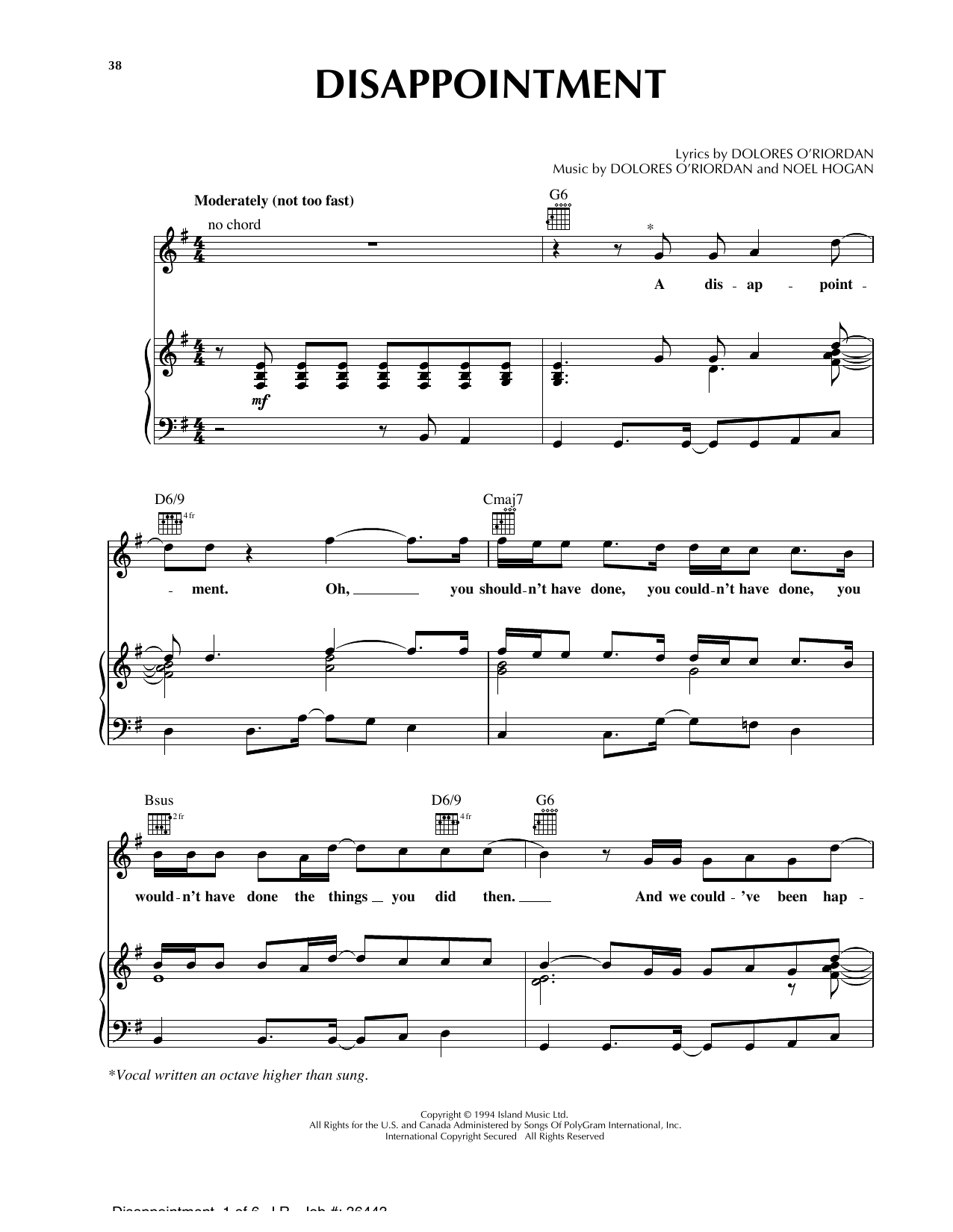 Disappointment Sheet Music