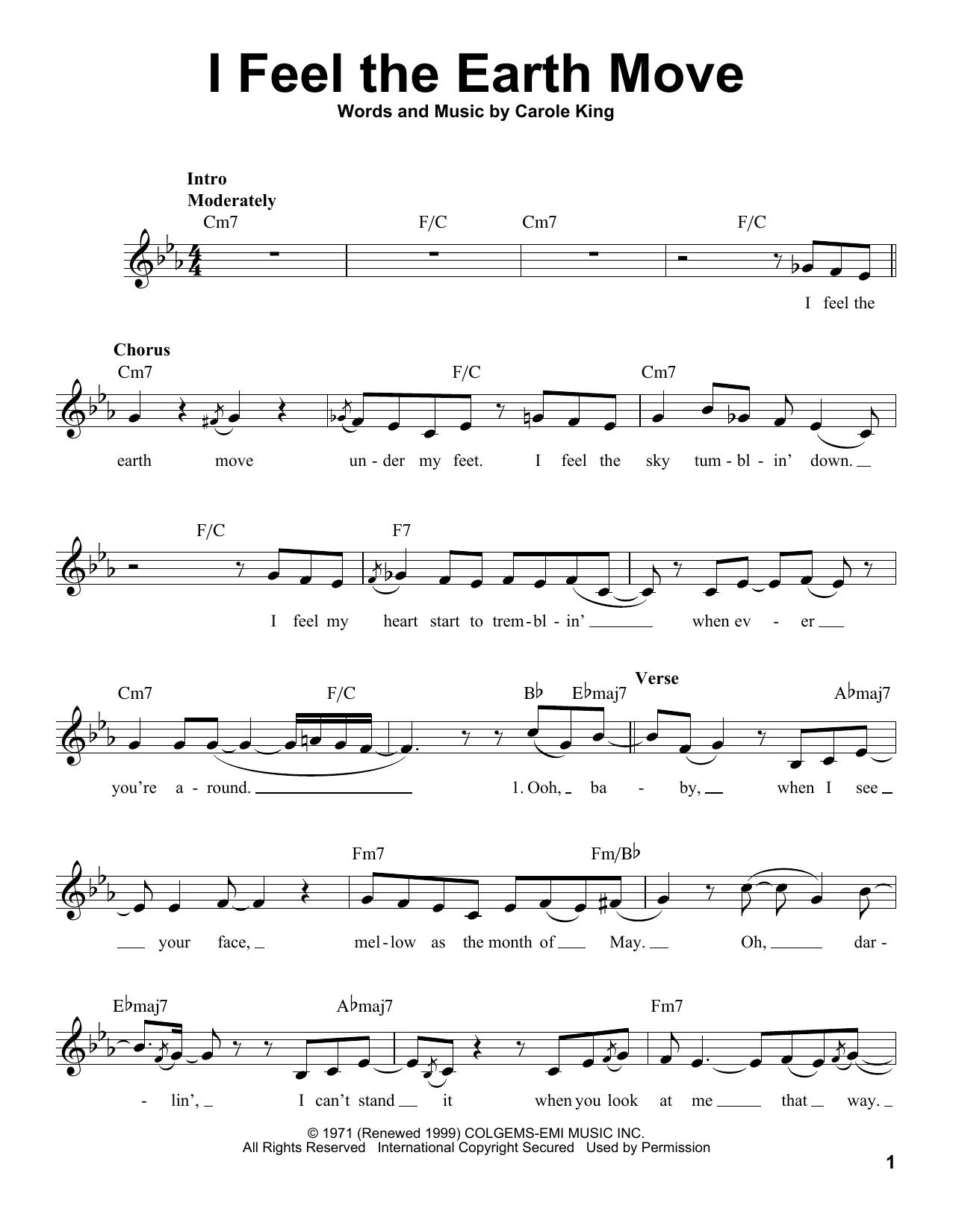 I Feel The Earth Move Sheet Music