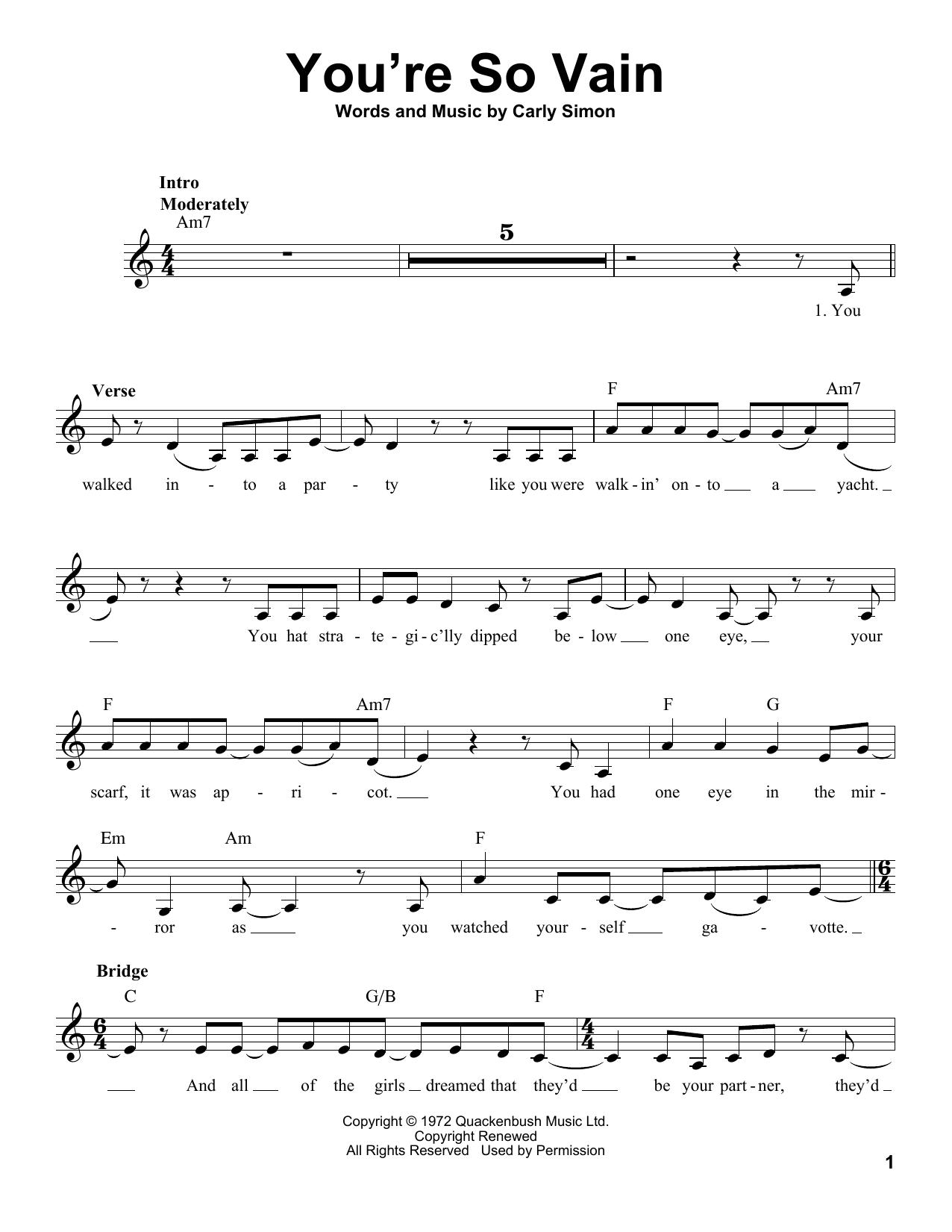 You're So Vain Sheet Music