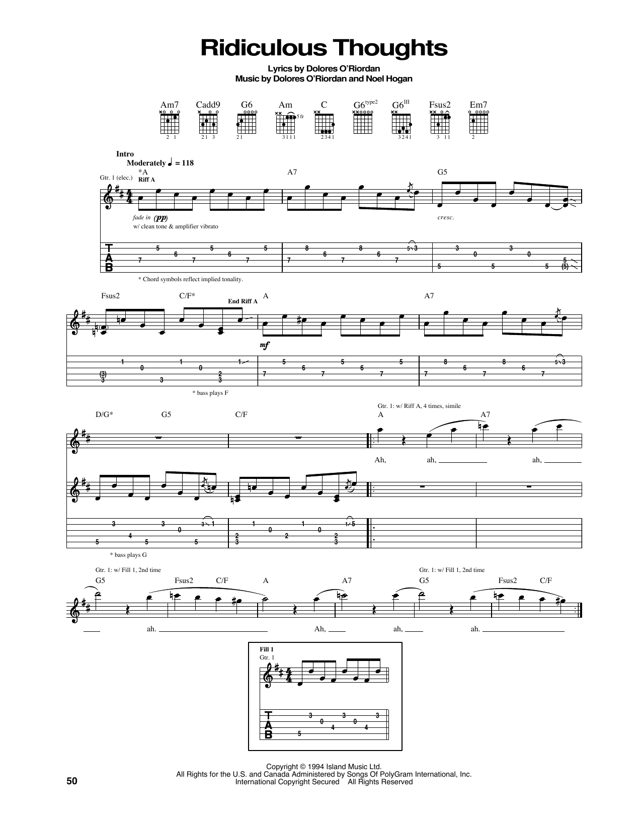Ridiculous Thoughts Sheet Music