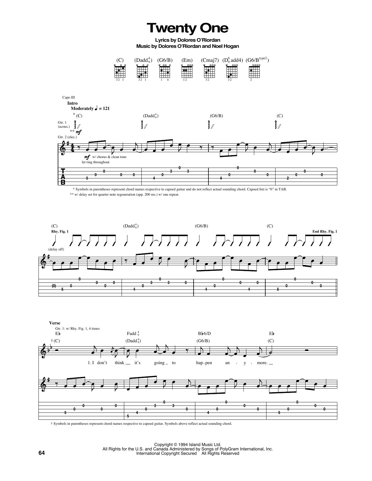 Twenty One Sheet Music