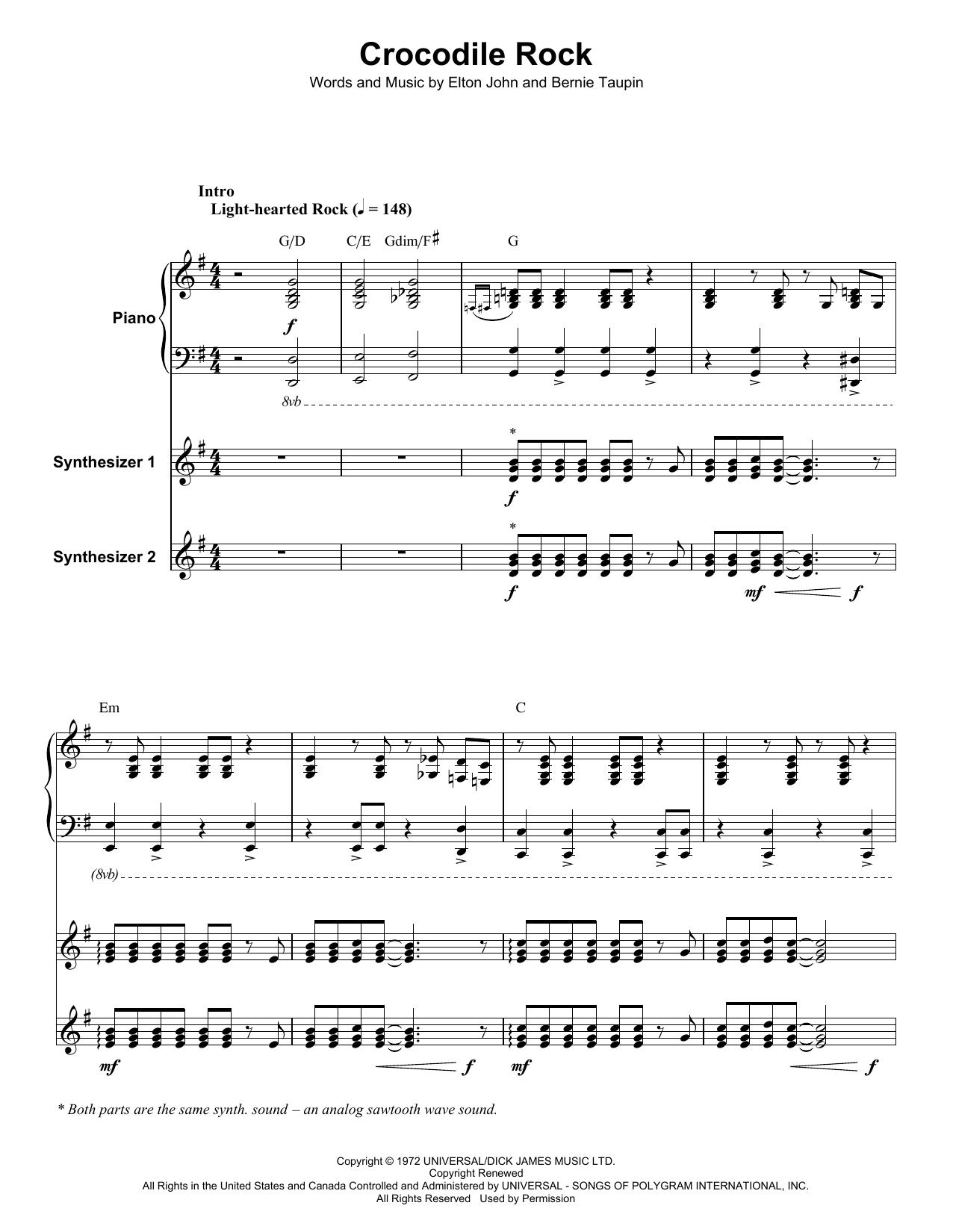 Crocodile Rock (Keyboard Transcription)