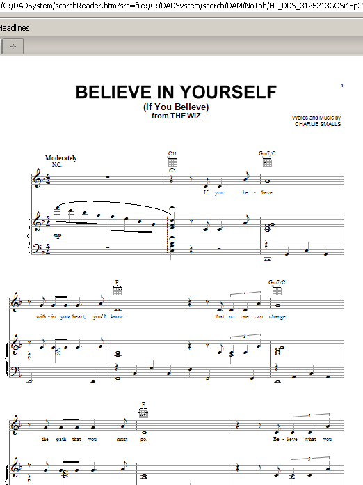 Believe In Yourself (If You Believe) Sheet Music