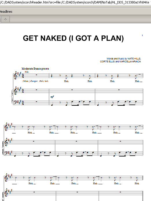 Get Naked (I Got A Plan) (Piano, Vocal & Guitar (Right-Hand Melody))