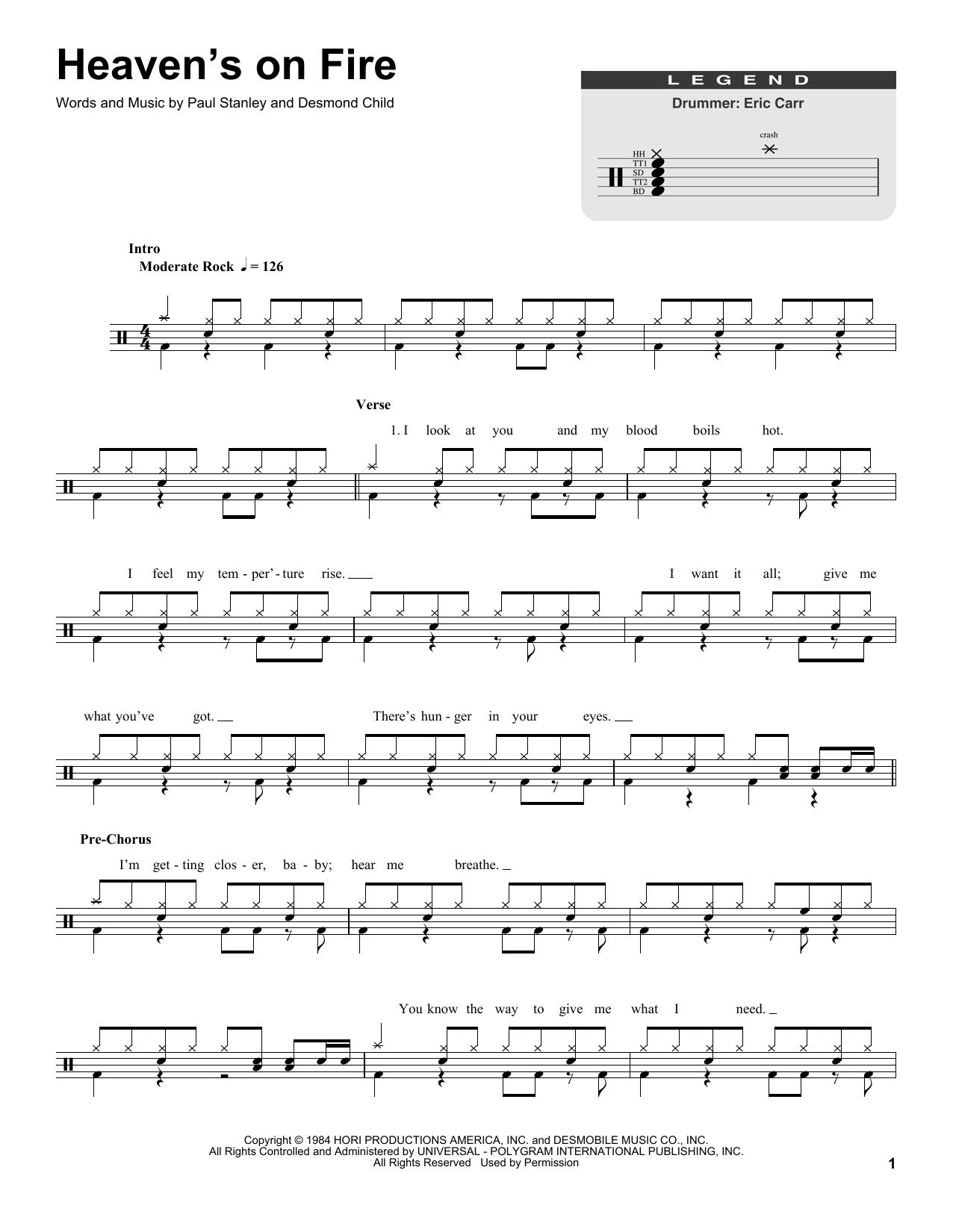 Heaven's On Fire Sheet Music