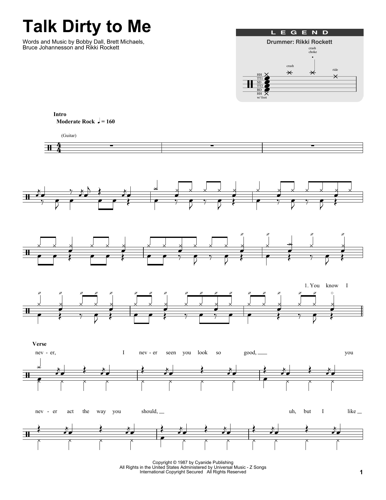 Talk Dirty To Me (Drums Transcription)