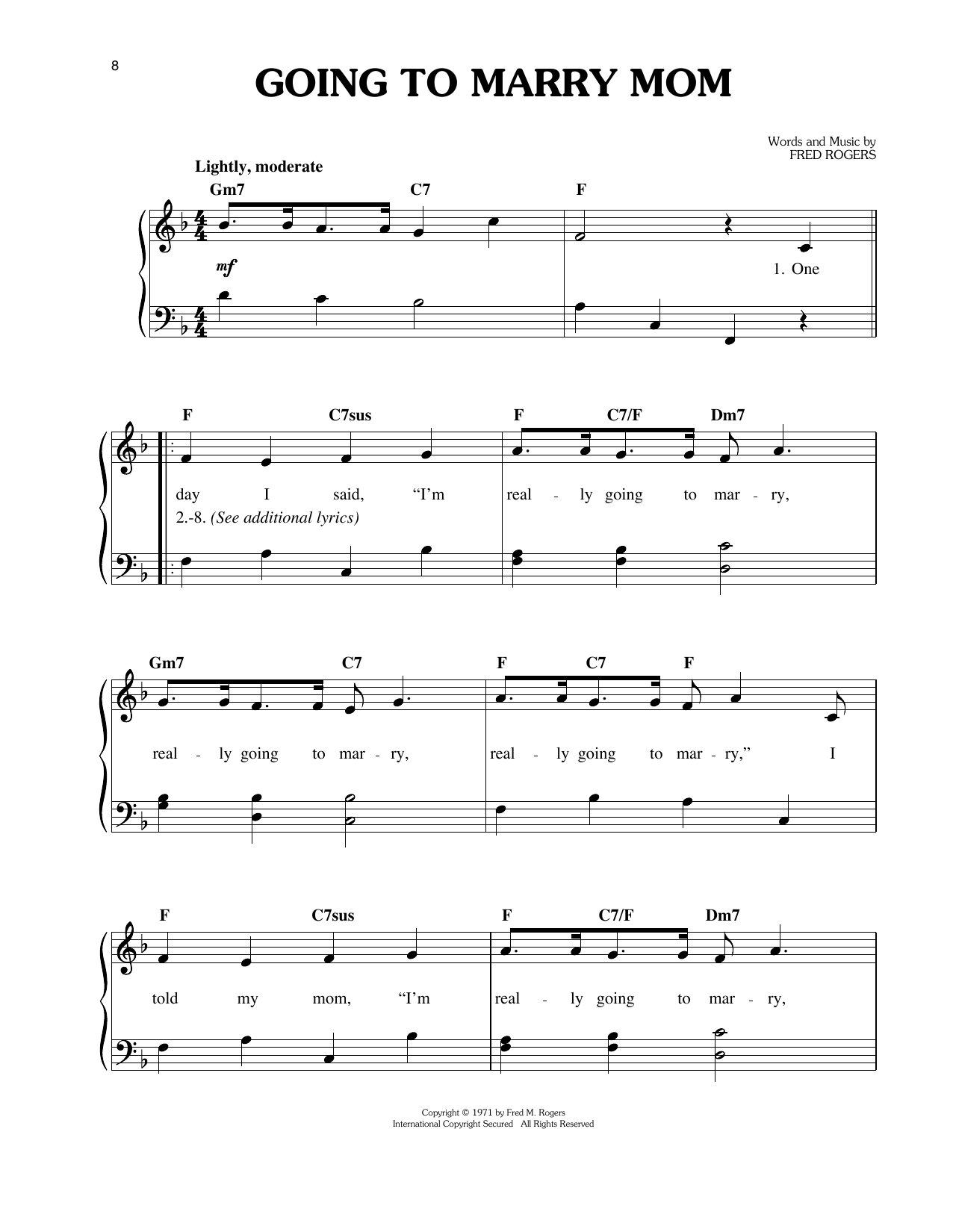 Going To Marry Mom Sheet Music