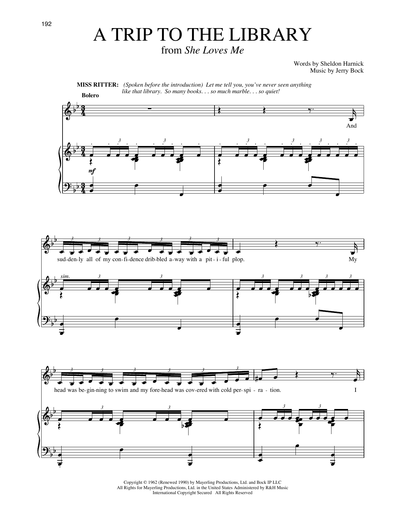 A Trip To The Library (from She Loves Me) (Piano & Vocal)