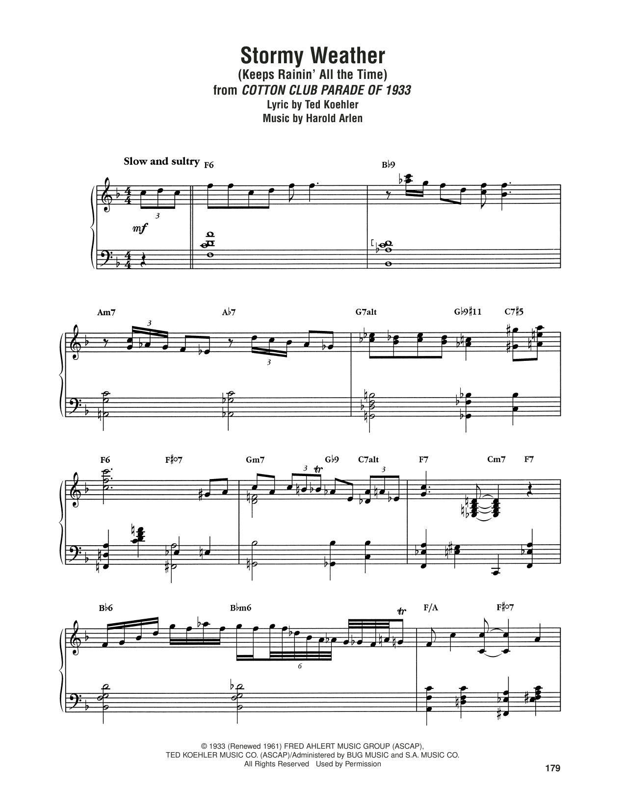 Stormy Weather (Keeps Rainin' All The Time) Sheet Music