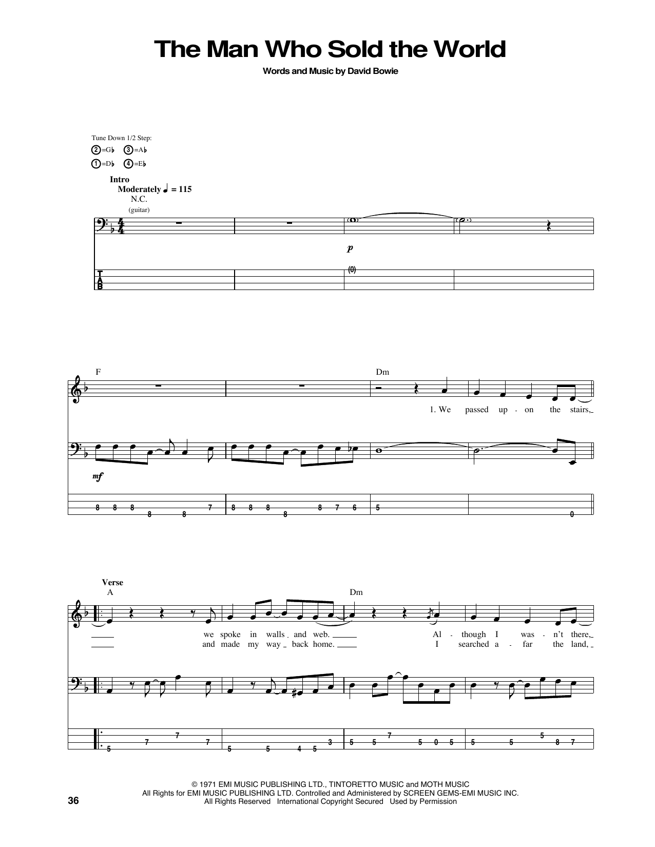 The Man Who Sold The World (Bass Guitar Tab)