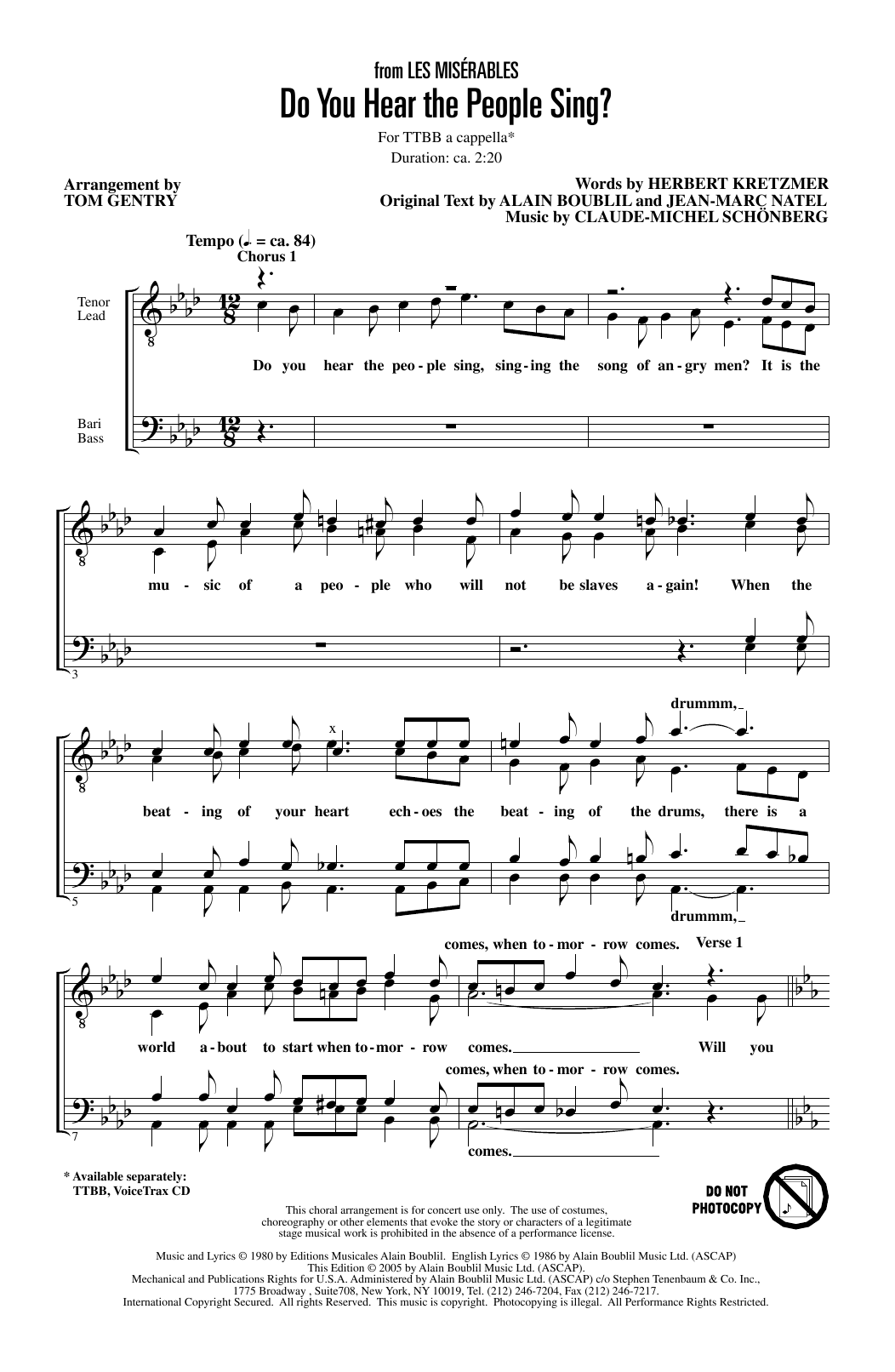 Do You Hear The People Sing? (from Les Miserables) (arr. Tom Gentry) Partition Digitale