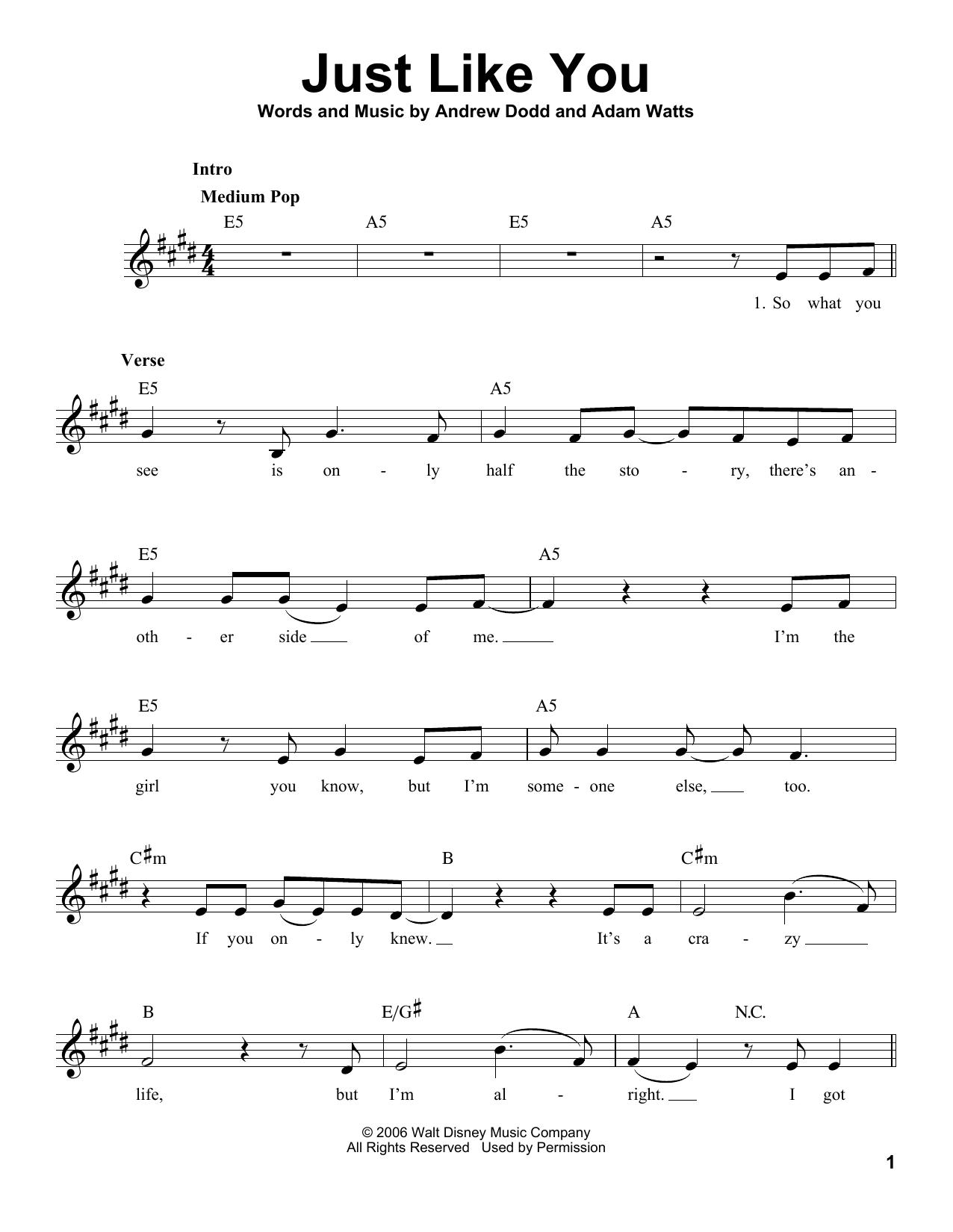 Just Like You Sheet Music