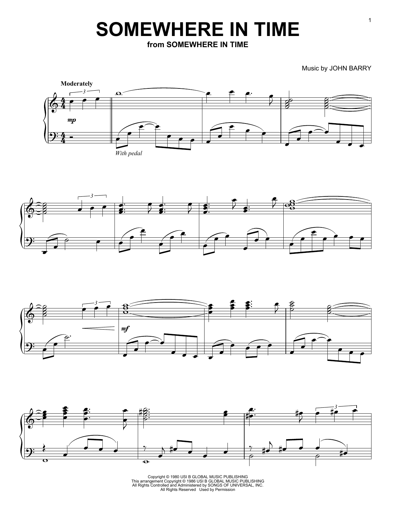 Somewhere In Time (Piano Solo)