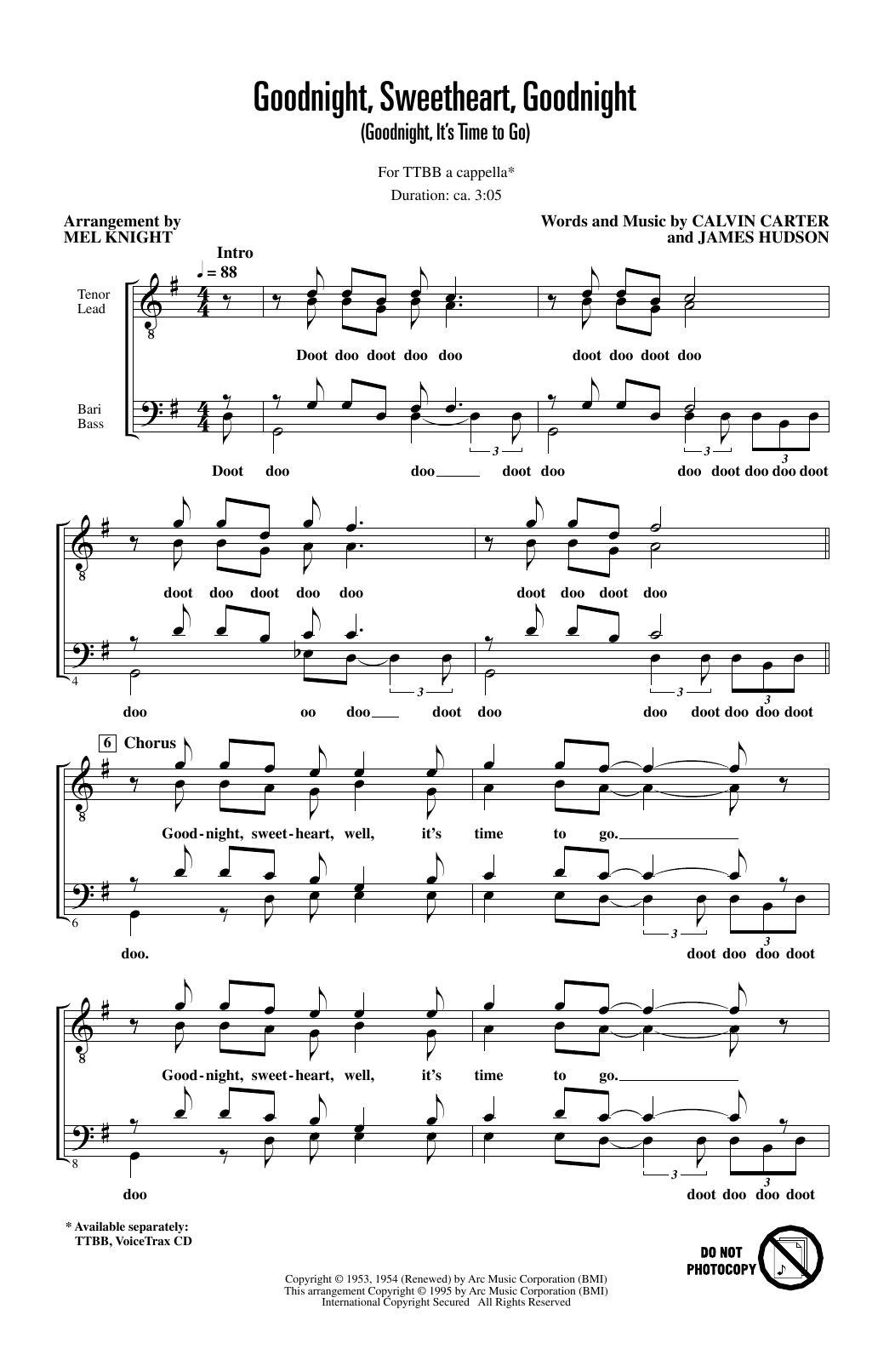 Goodnight, Sweetheart, Goodnight (Goodnight, It's Time to Go) (arr. Mel Knight) Partition Digitale