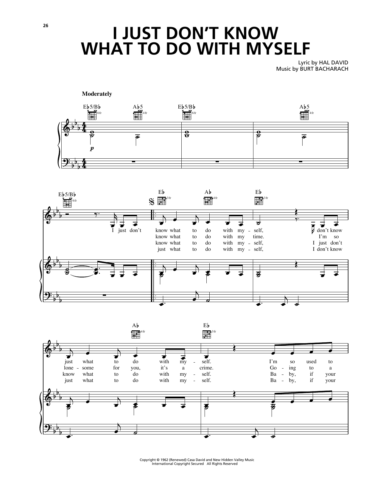 I Just Don't Know What To Do With Myself (from My Best Friend's Wedding) (Piano, Vocal & Guitar (Right-Hand Melody))