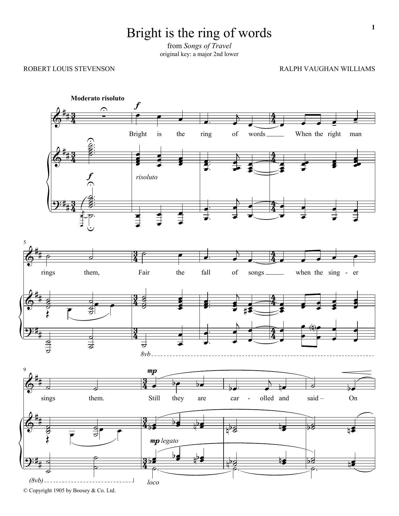 Bright Is The Ring Of Words Sheet Music