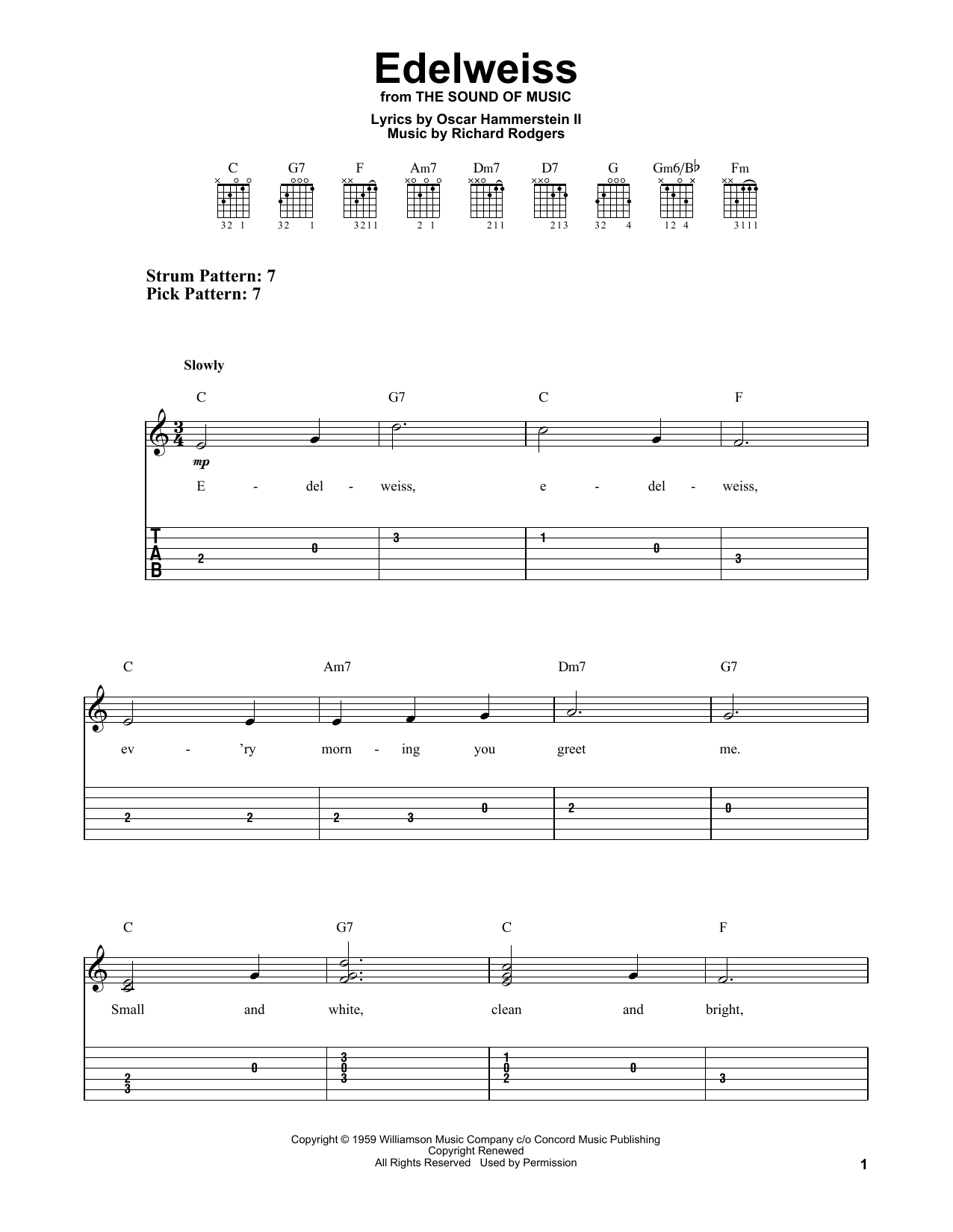 Edelweiss (from The Sound Of Music) (Easy Guitar Tab)