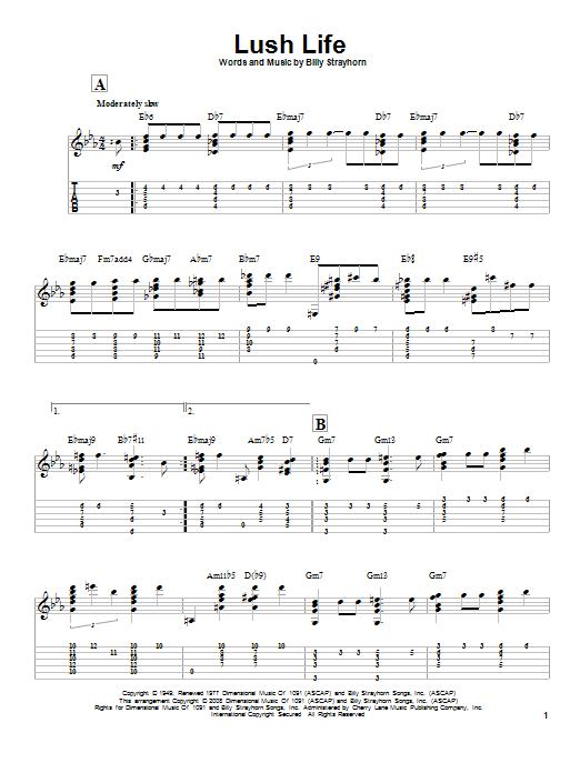 Tablature guitare Lush Life de Billy Strayhorn - Tablature Guitare
