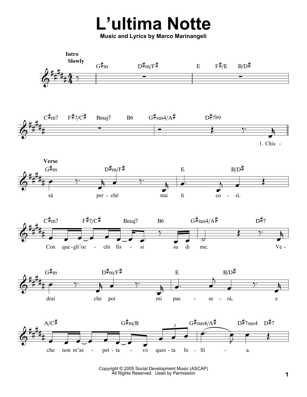 L'Ultima Notte Sheet Music