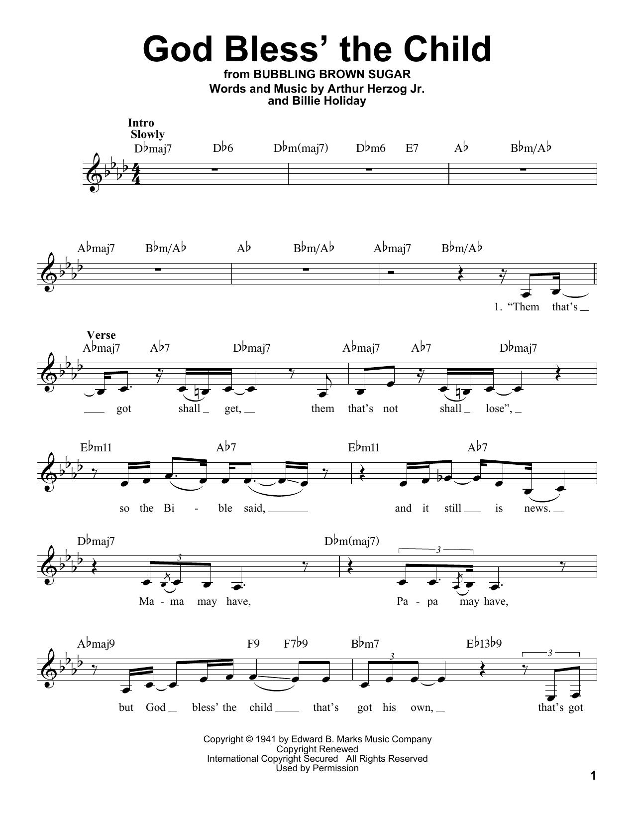 God Bless' The Child (Pro Vocal)