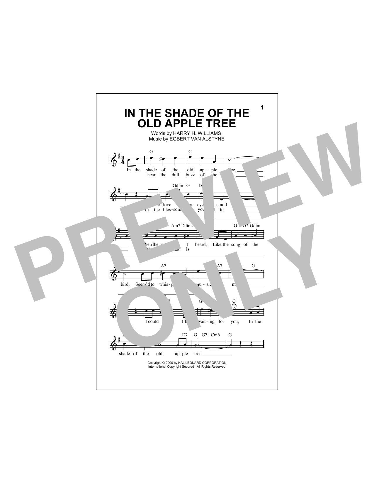 In The Shade Of The Old Apple Tree (Lead Sheet / Fake Book)