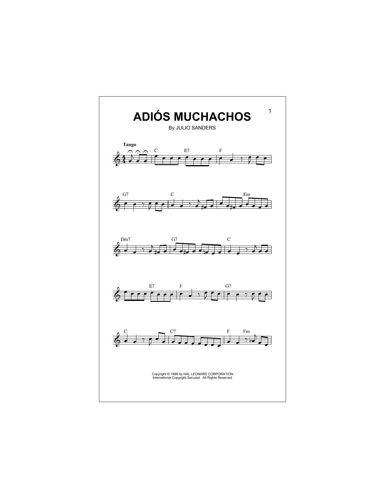 Adios Muchachos (Lead Sheet / Fake Book)
