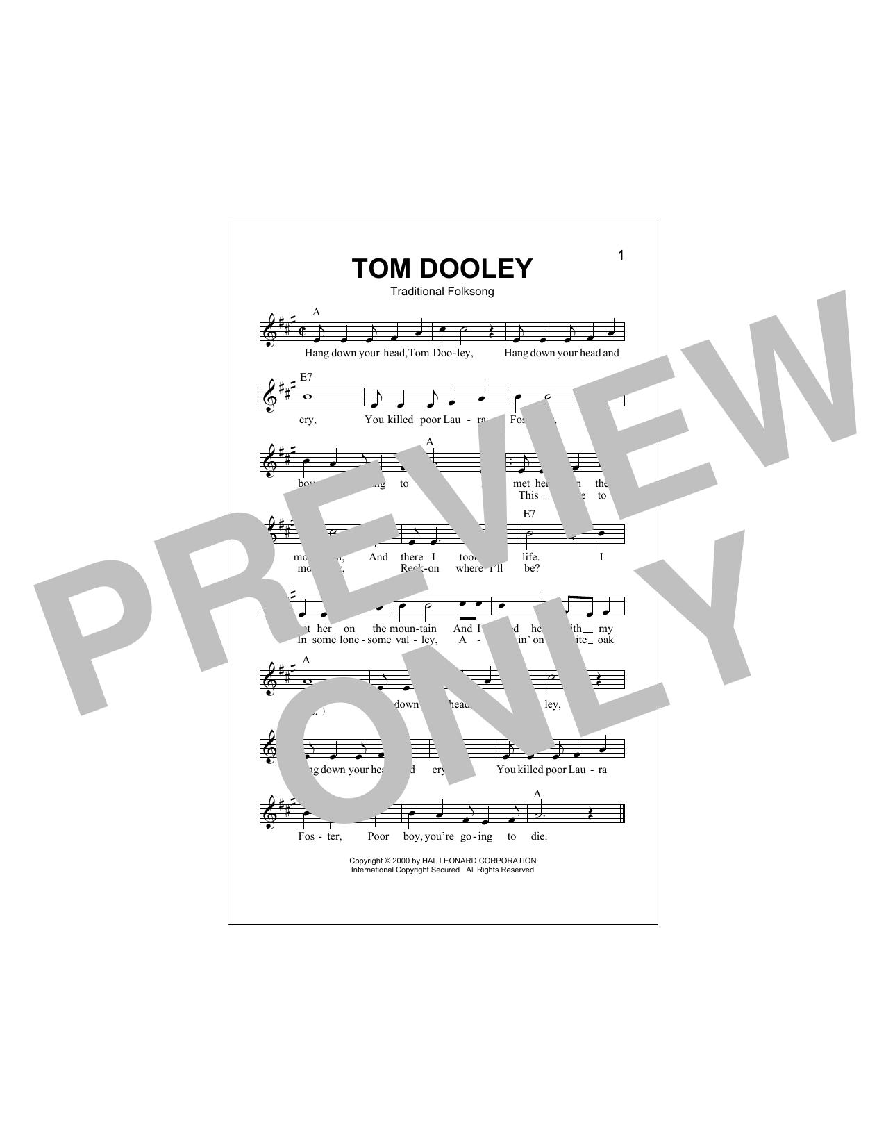 Tom Dooley (Lead Sheet / Fake Book)