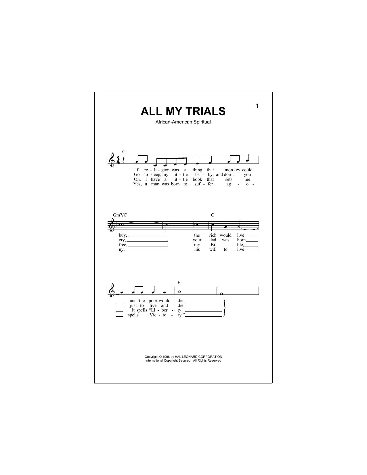 All My Trials (Lead Sheet / Fake Book)