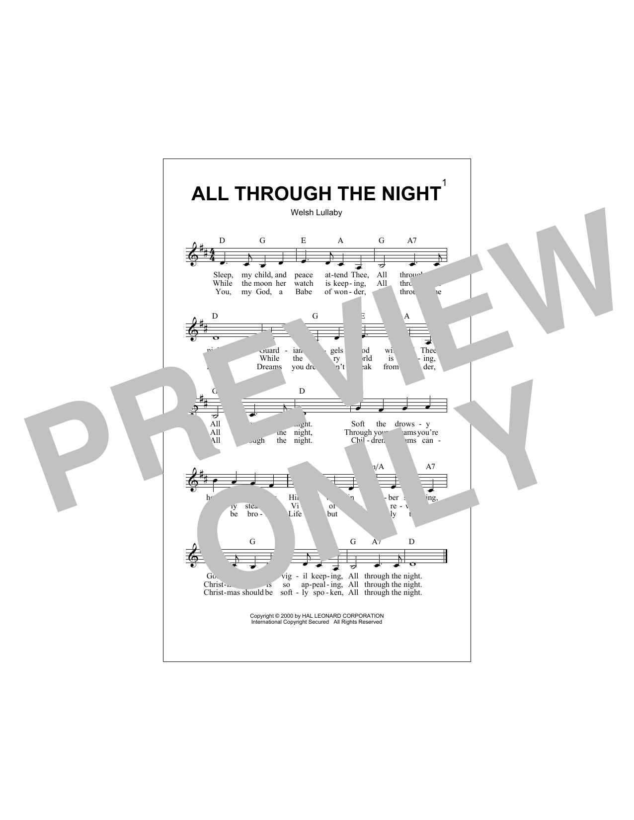 All Through The Night Sheet Music