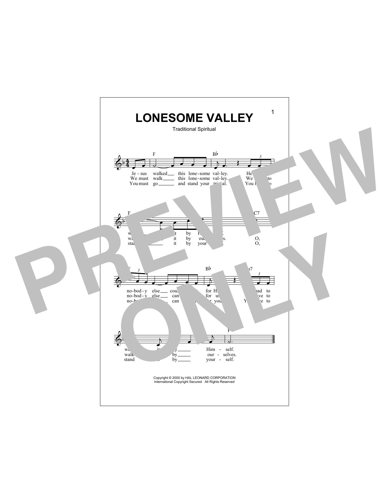 Lonesome Valley (Lead Sheet / Fake Book)
