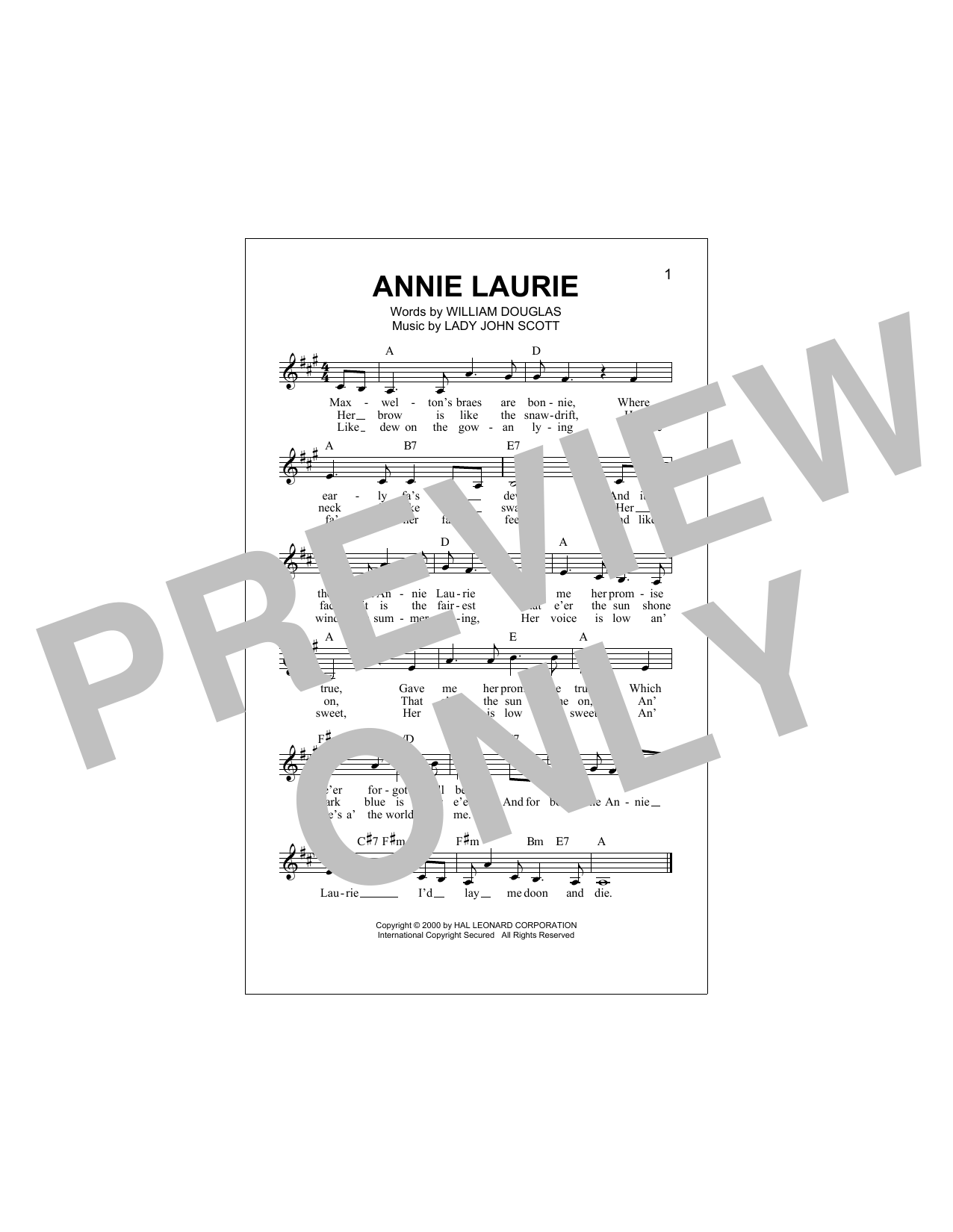 Annie Laurie Sheet Music