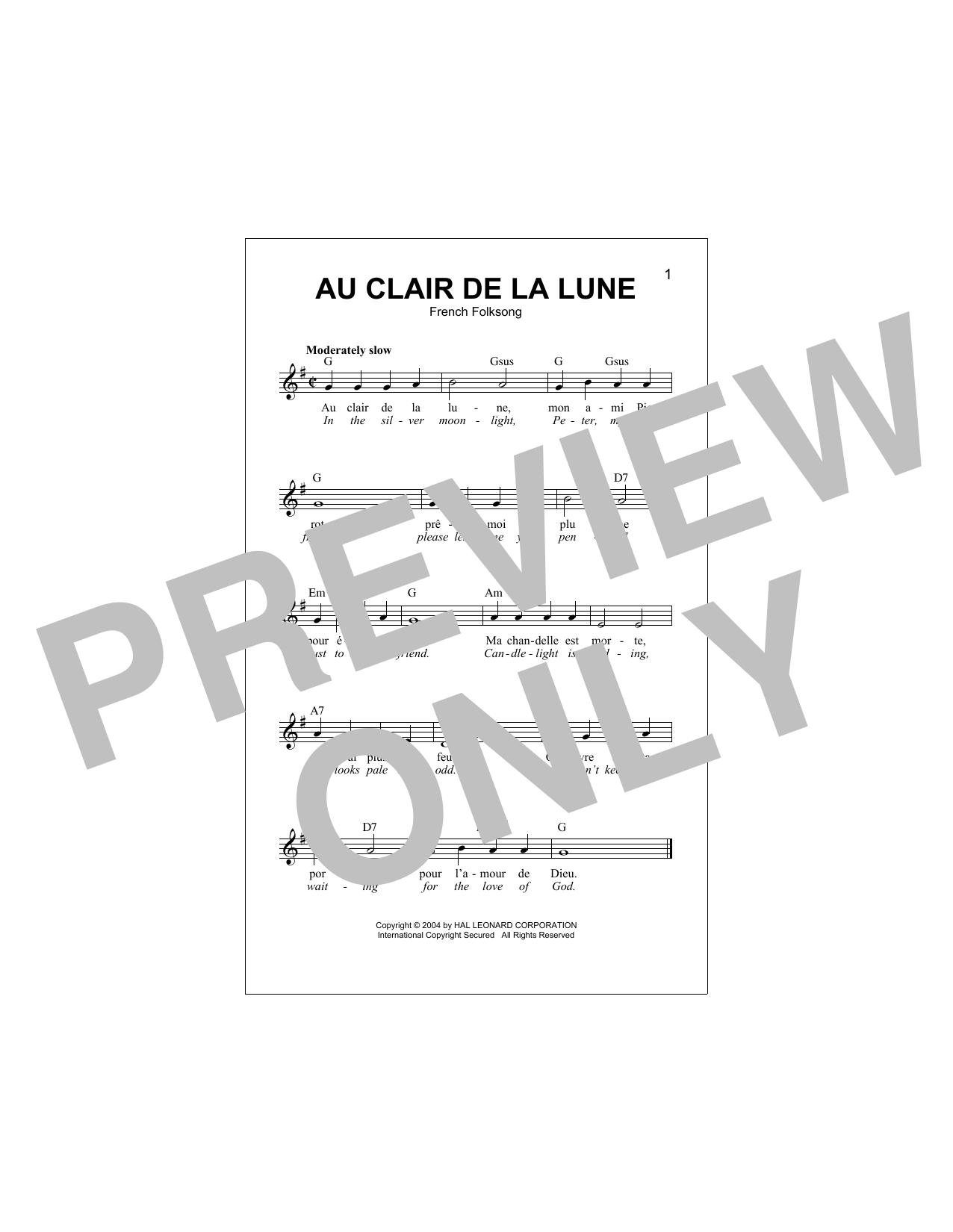 Au Clair De La Lune Sheet Music