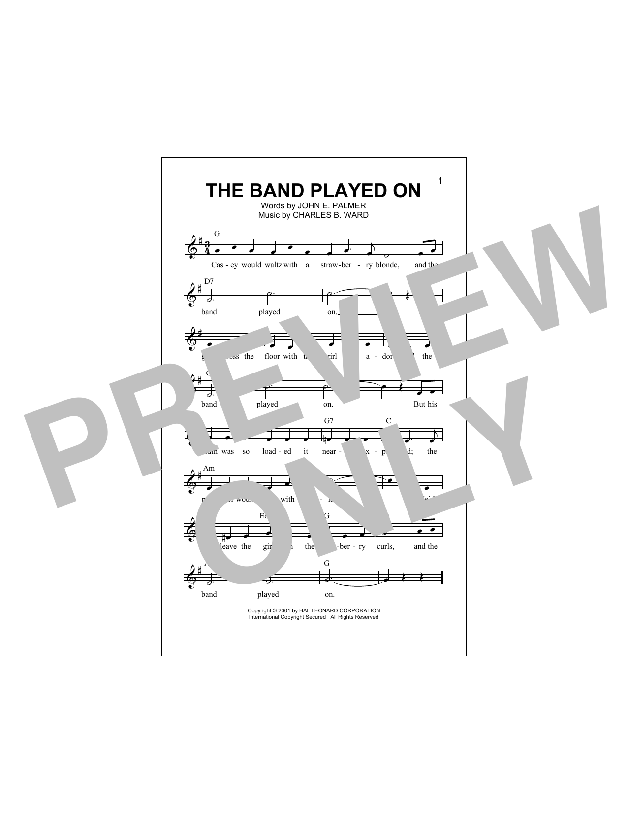 The Band Played On Sheet Music