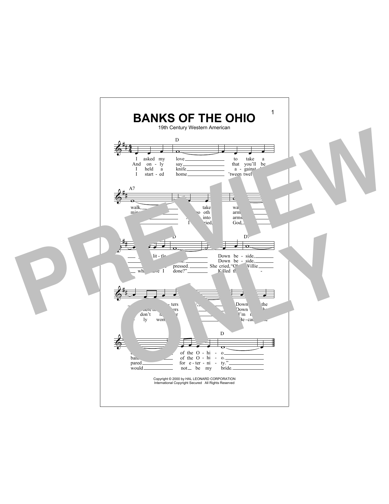 Banks Of The Ohio Sheet Music