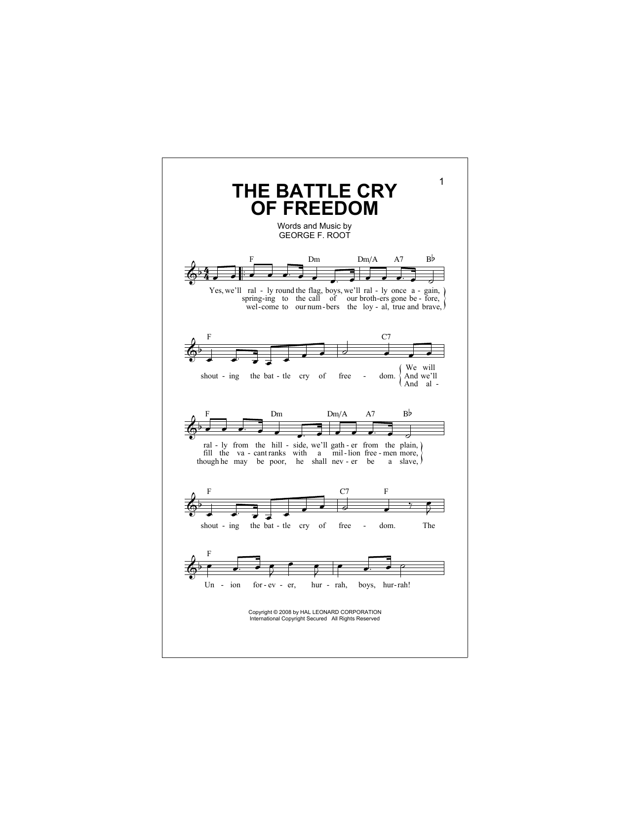 The Battle Cry Of Freedom (Lead Sheet / Fake Book)