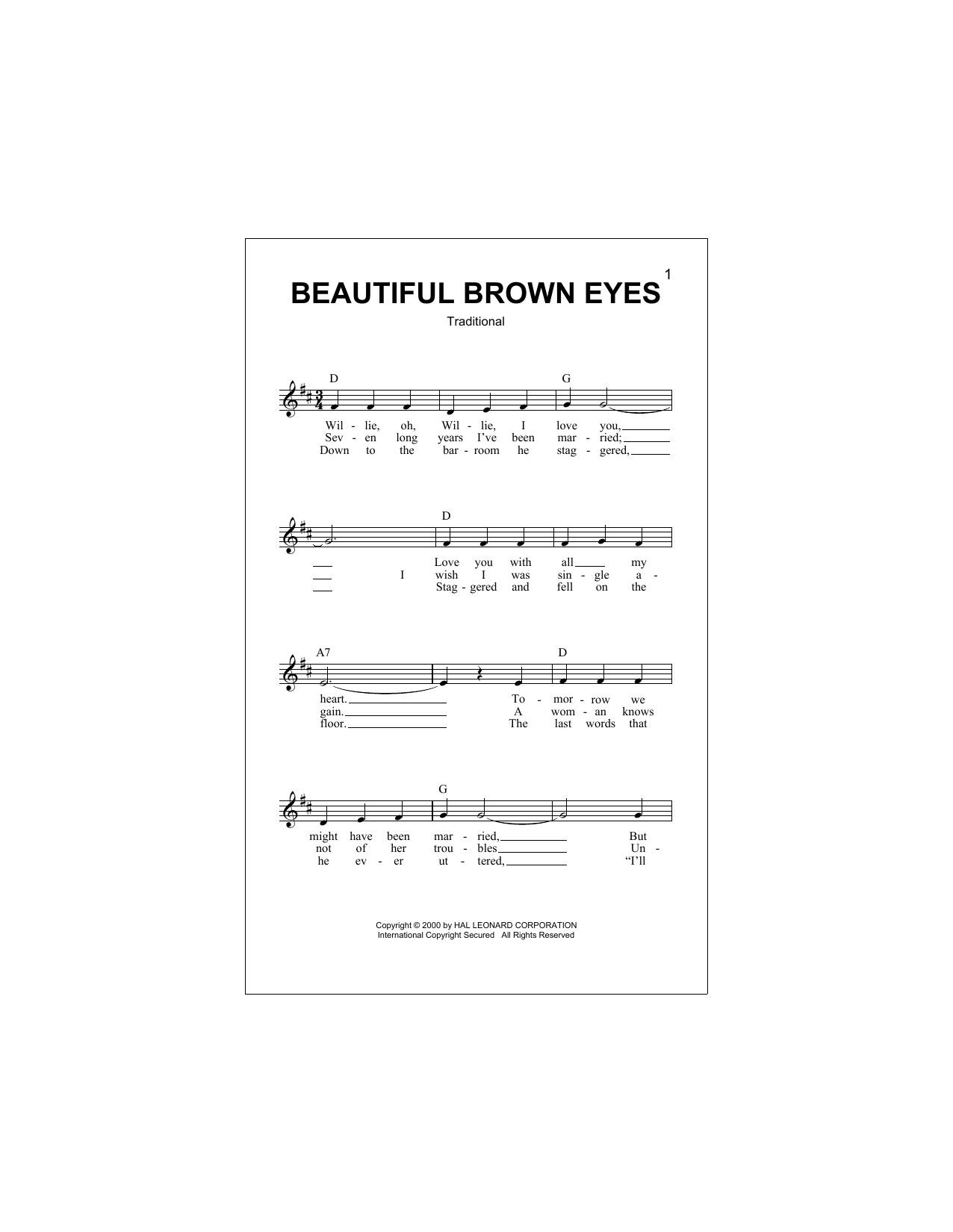 Beautiful Brown Eyes (Lead Sheet / Fake Book)
