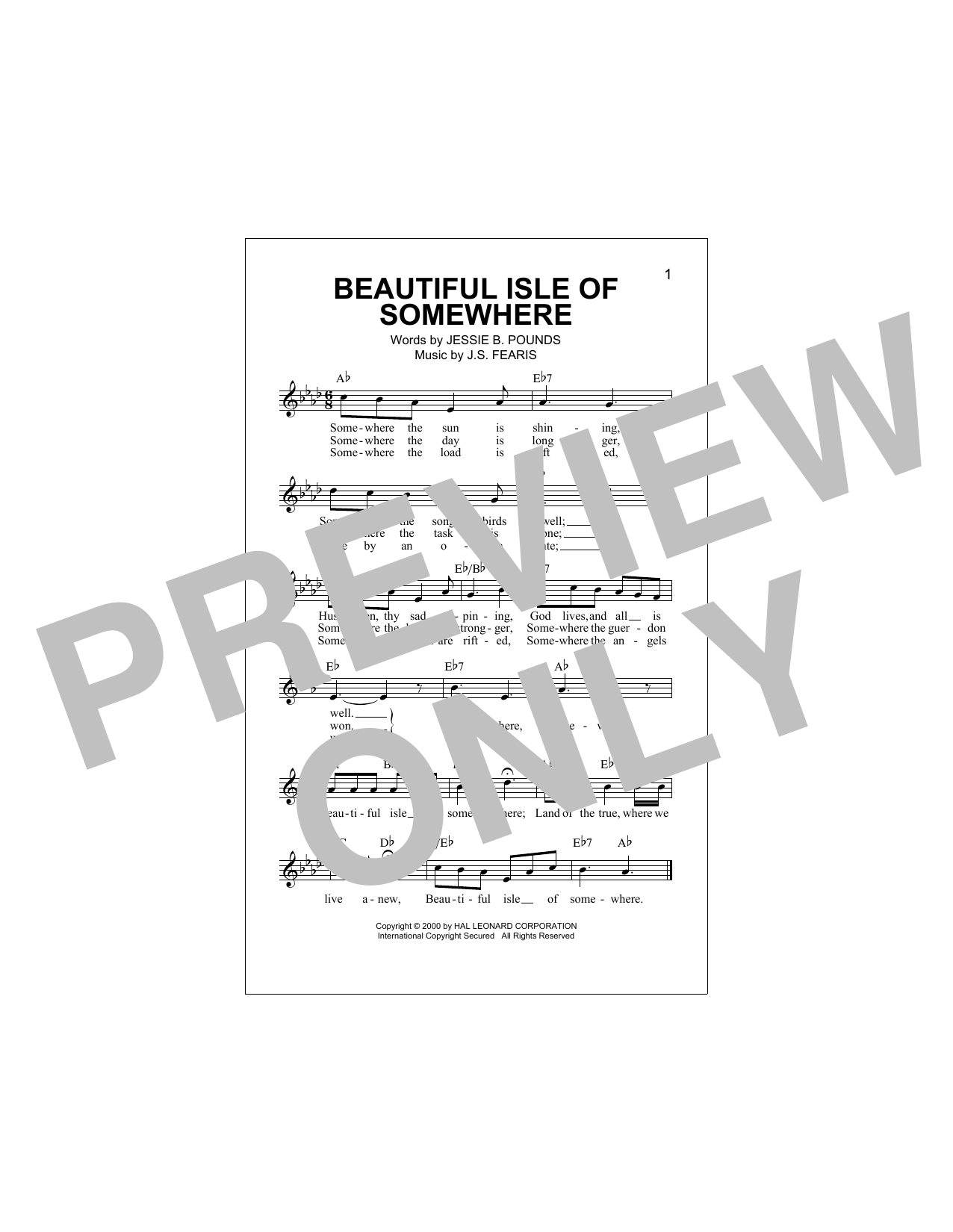 Beautiful Isle Of Somewhere Sheet Music