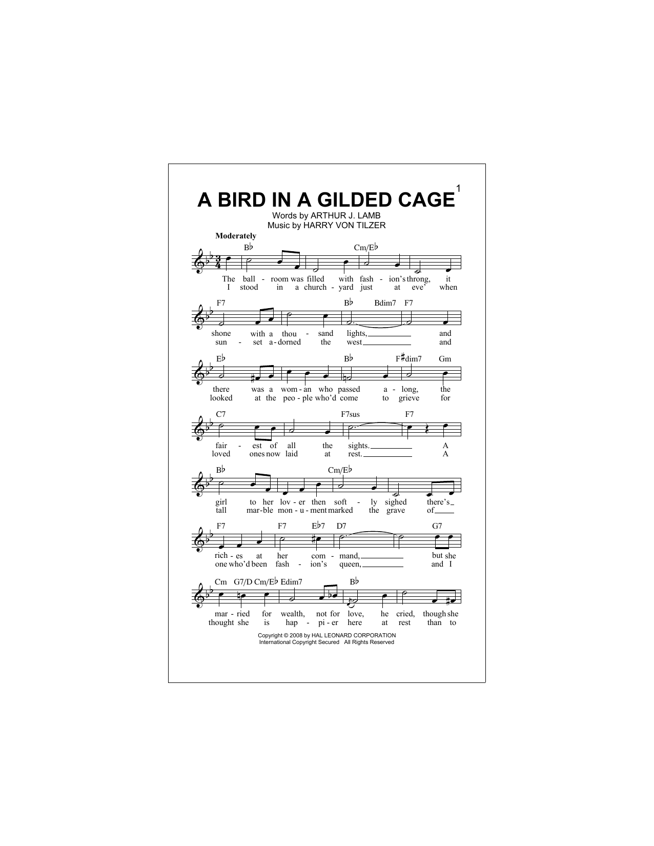 A Bird In A Gilded Cage Sheet Music