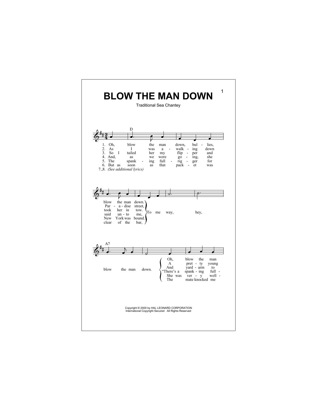 Blow The Man Down Sheet Music