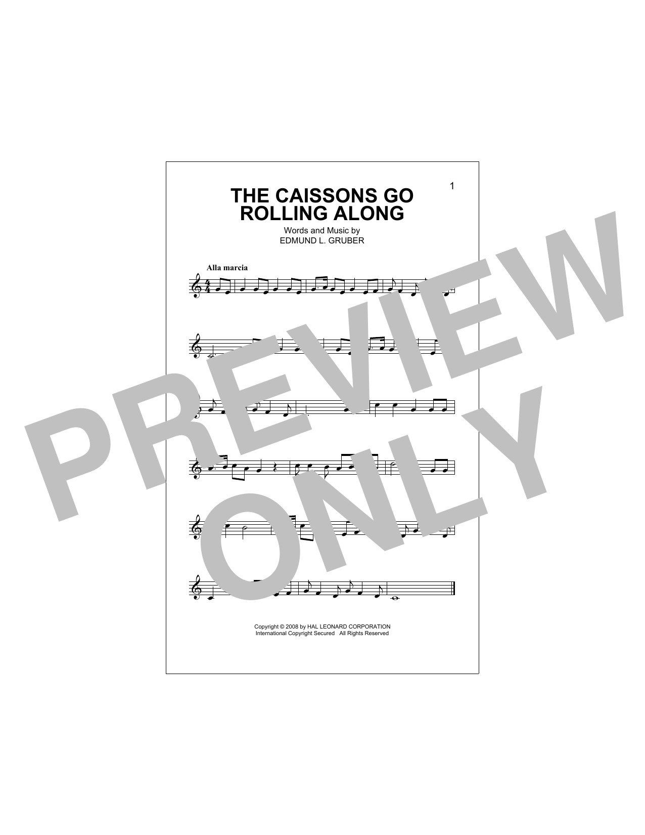 The Caissons Go Rolling Along (Lead Sheet / Fake Book)