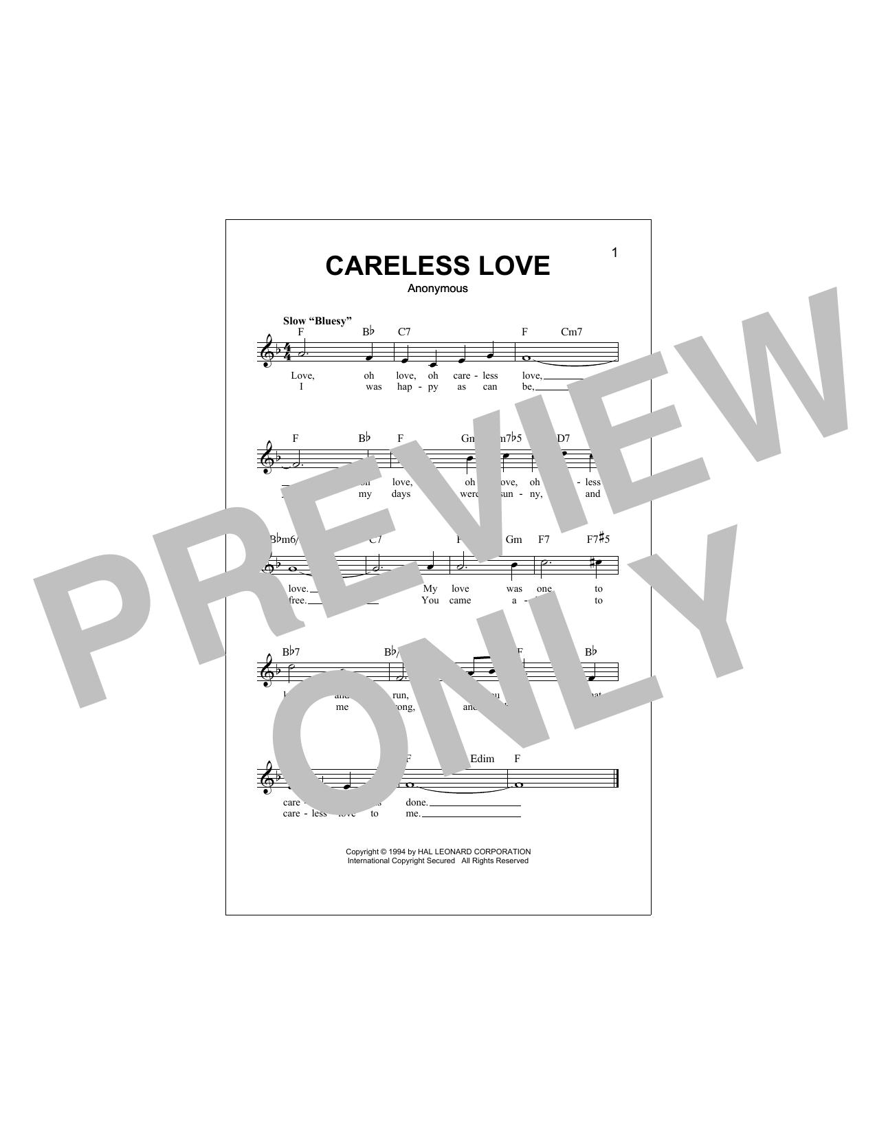 Careless Love Sheet Music