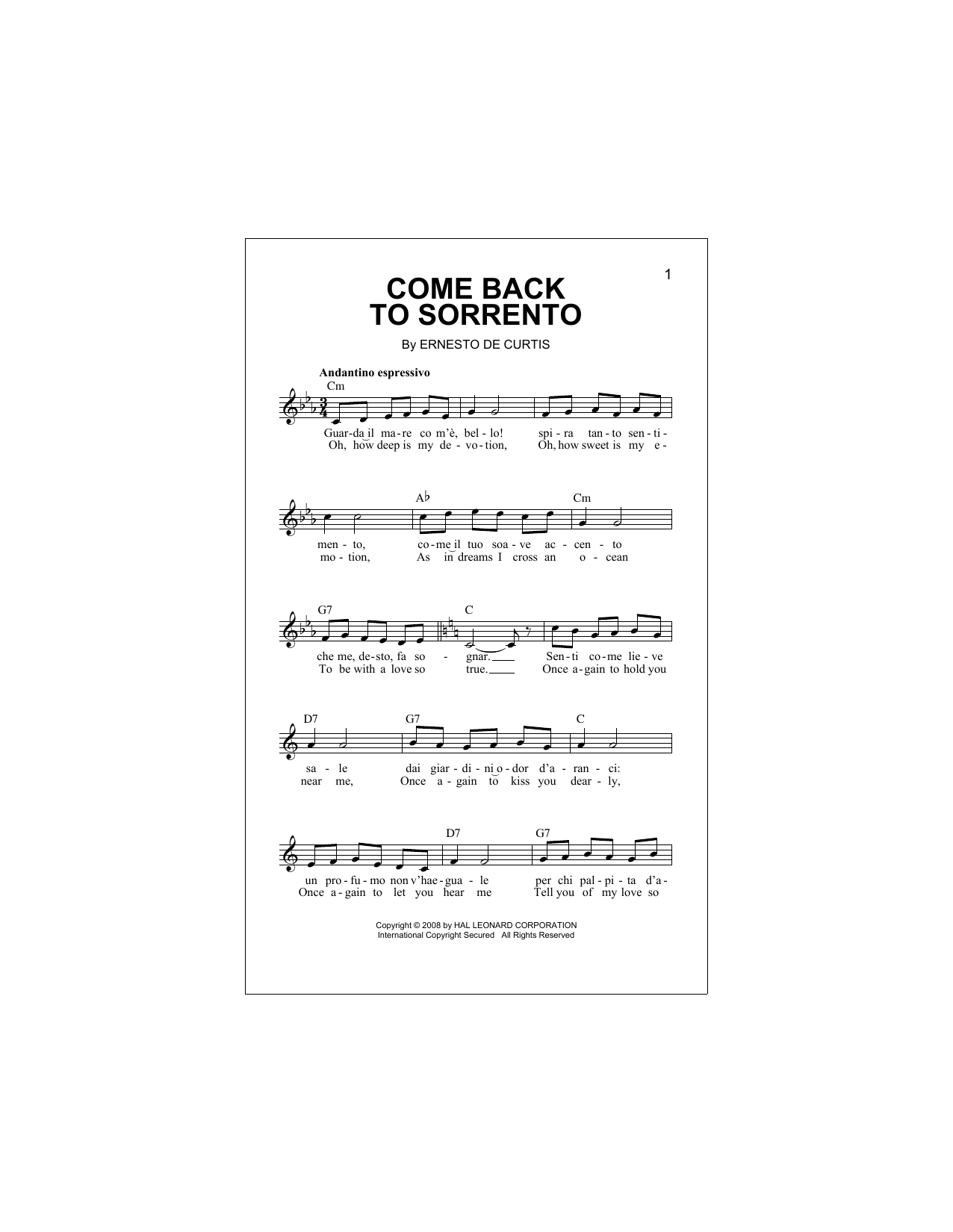 Come Back To Sorrento Sheet Music