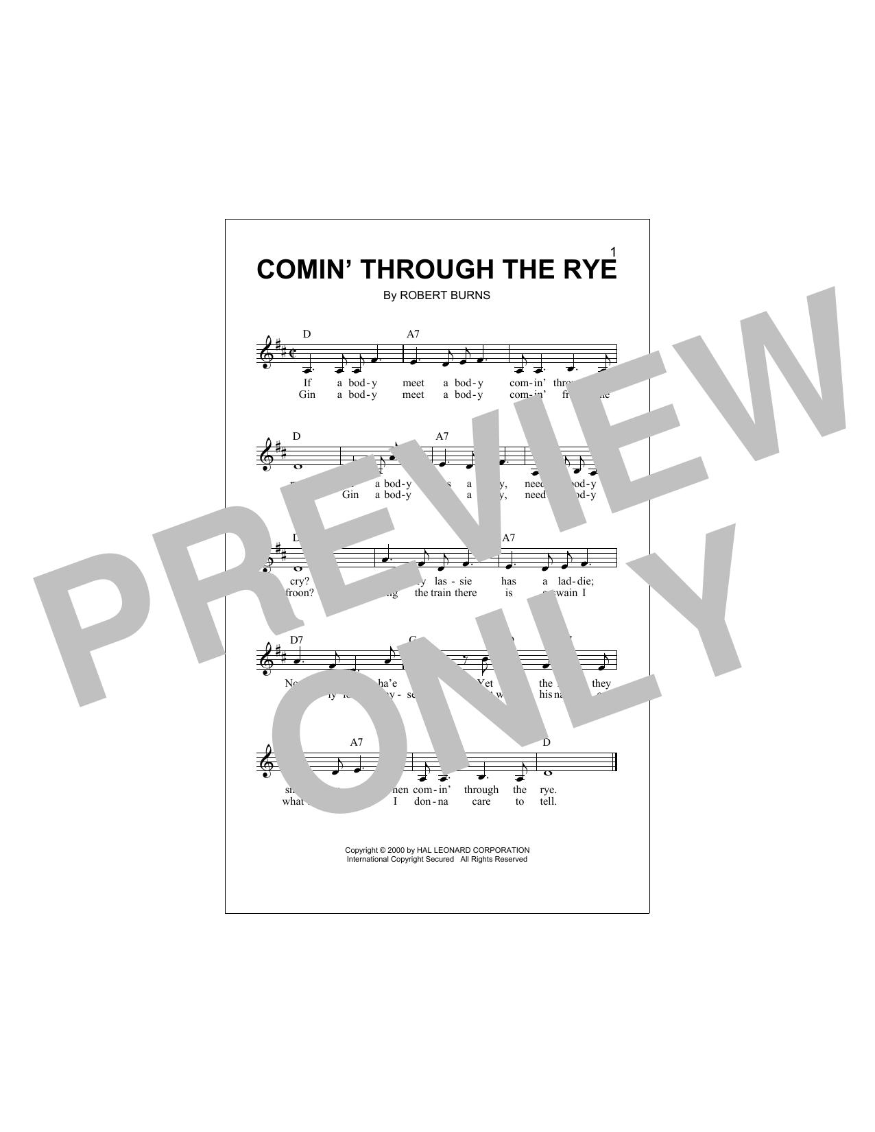 Comin' Through The Rye Sheet Music