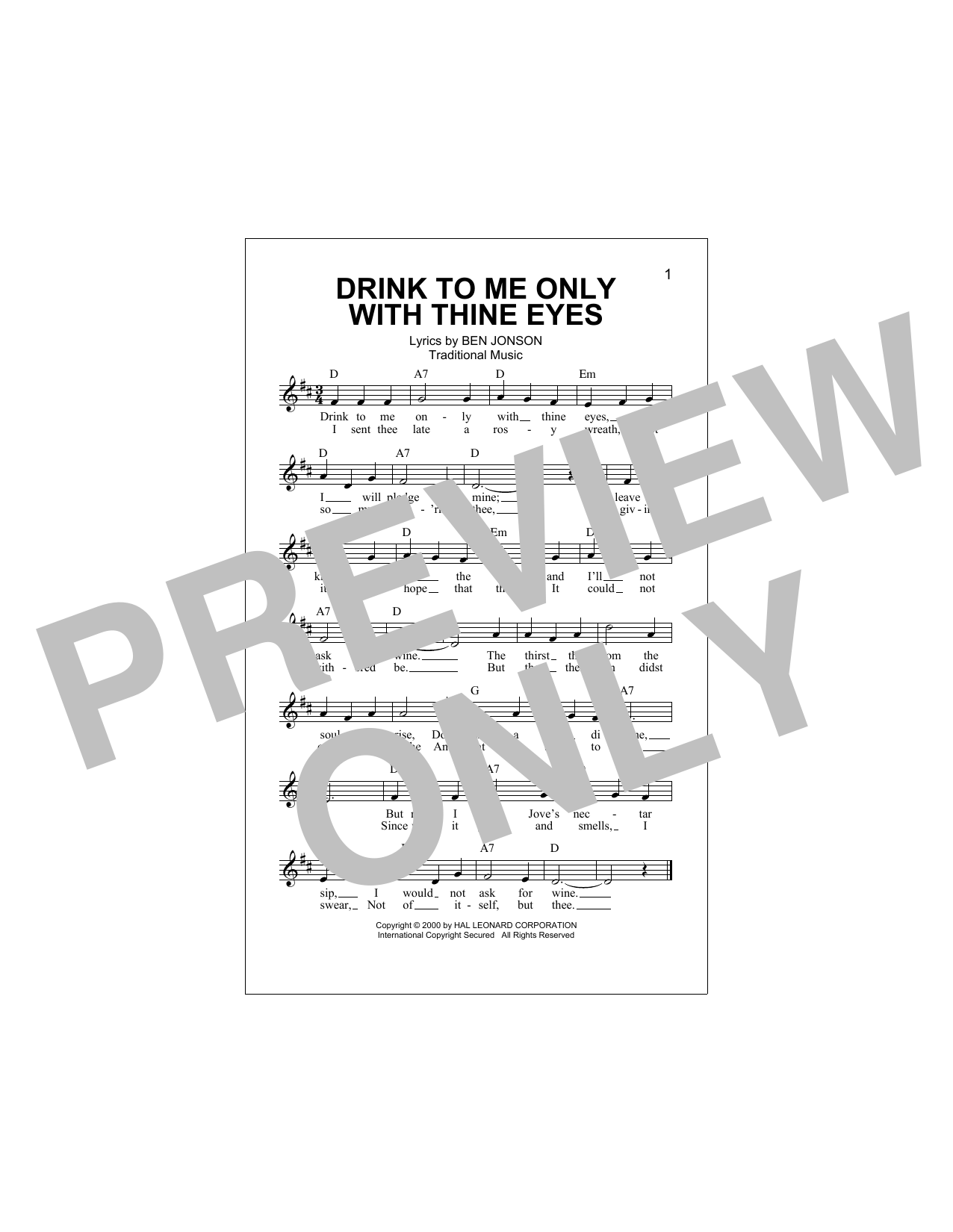 Drink To Me Only With Thine Eyes Sheet Music