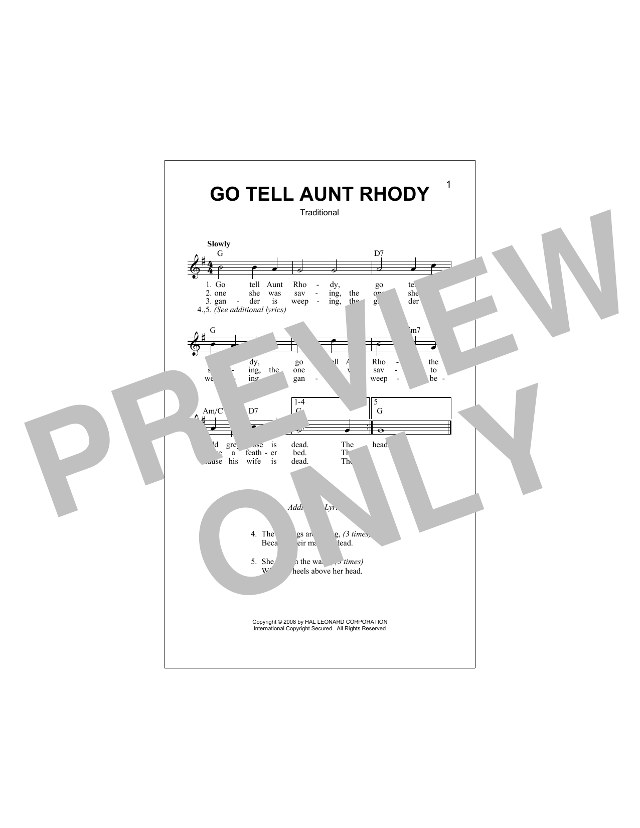 Go Tell Aunt Rhody Sheet Music