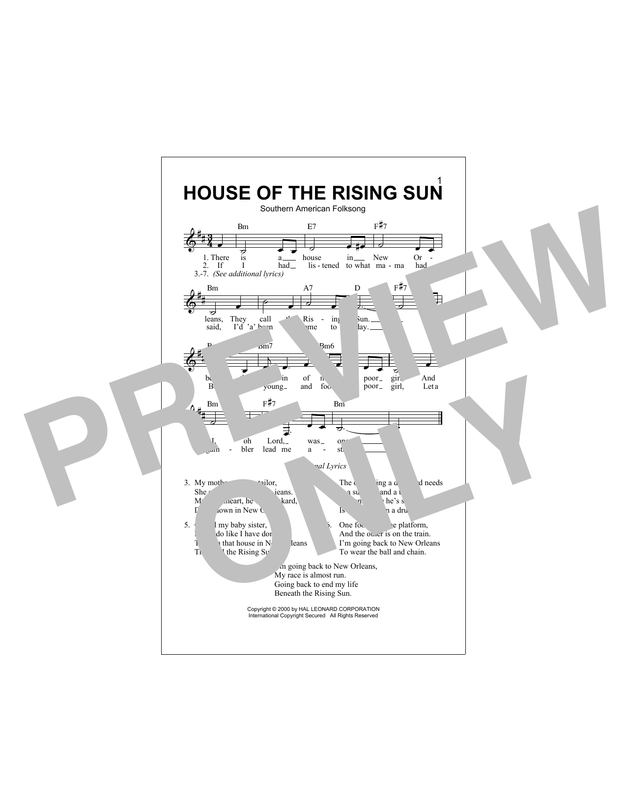 House Of The Rising Sun Sheet Music
